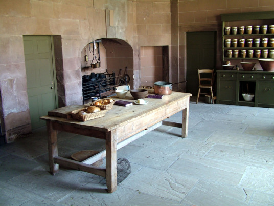 Old kitchen, Paxton House, a fine Adam mansion, built for the Home family, with a beautiful period interior and an extensive collection of Chippendale furniture, in lovely gardens and grounds, near Berwick upon Tweed on the Scottish side of the border wit