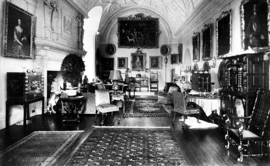 Drawing room, Glamis Castle, one of the most impressive, romantic and reputedly haunted castles in Scotland, home to the Bowes Lyon Earls of Strathmore and Kinghorne, and near Forfar in Angus in northeast Scotland.
