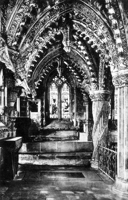Lady Chapel of Rosslyn Chapel, near Roslin Castle, an impressive, partly ruinous old stronghold on a rock above the River Esk, long held by the Sinlcairs and near the beautiful and intricately carved Rosslyn Chapel