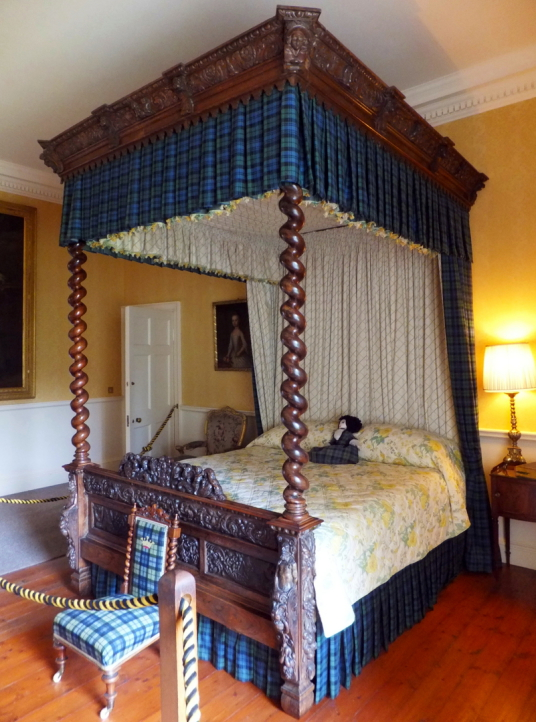 Bedroom, Inverary Castle, a magnificent towered mansion, the seat of the Campbell Dukes of Argyll and located among colourful gardens in a beautiful spot by Loch Fyne near the attractive burgh of Inveraray in Arygll.