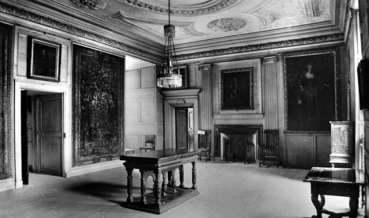 Lord Darnley's Audience Chamber, Palace of Holyroodhouse, a sumptuous royal residence, scene of the notorious murder of David Rizzio, secretary to Mary Queen of Scots, and still used by the present monarch Queen Elizabeth, at the foot of the famous Royal