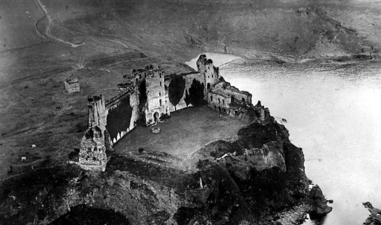 Aerial view of Tantallon Castle, a spectacular ruinous castle of the Douglas Earls of Angus, located in a pretty cliff top location near the East Lothian seaside town of North Berwick.