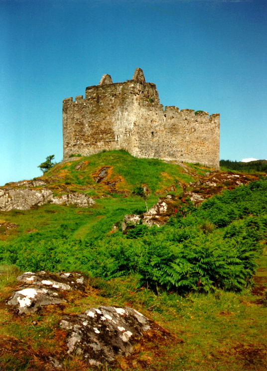 Castle Tioram, an imposing ruinous old castle in a wonderful spot on a tidal island in a beautiful part of Scotland, long held by the MacDonalds of Clan Ranald, and a few miles from Acharcle on the west coast of Highland Scotland.