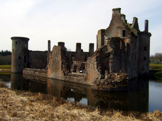 Caerlaverock Castle, an impressive and romantic old ruinous castle of the Maxwell family, near Dumfries.