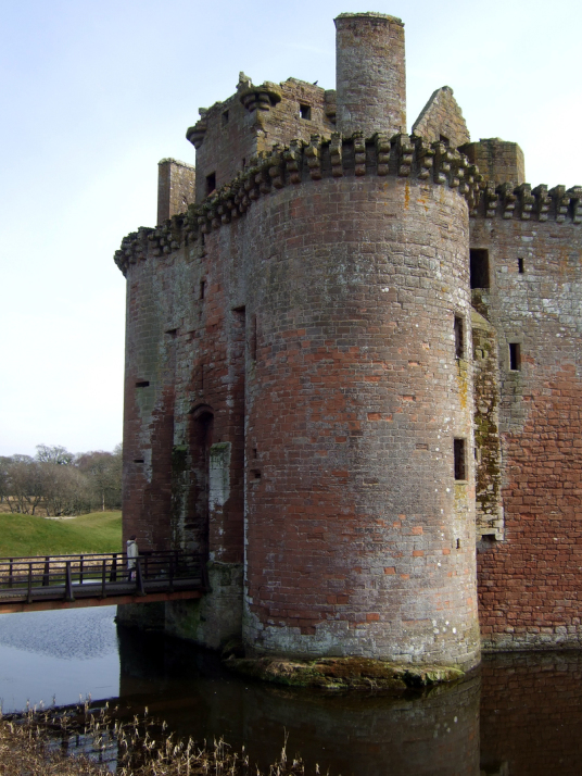 Gatehouse, Caerlaverock Castle, an impressive and romantic old ruinous castle of the Maxwell family, near Dumfries.
