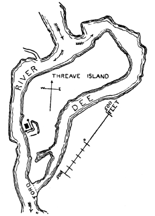Plan of the island on which stands Threave Castle, a grim but scenic old tower and castle, built by the Black Douglases, on an island in River Dee, near Castle Douglas in Dumfries and Galloway.
