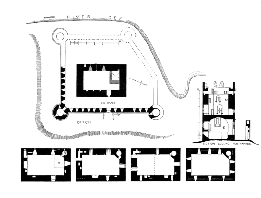 Plans of Threave Castle, a grim but scenic old tower and castle, built by the Black Douglases, on an island in River Dee, near Castle Douglas in Dumfries and Galloway.