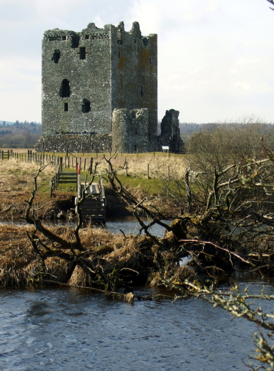 Threave Castle, a grim but scenic old tower and castle, built by the Black Douglases, on an island in River Dee, near Castle Douglas in Dumfries and Galloway.