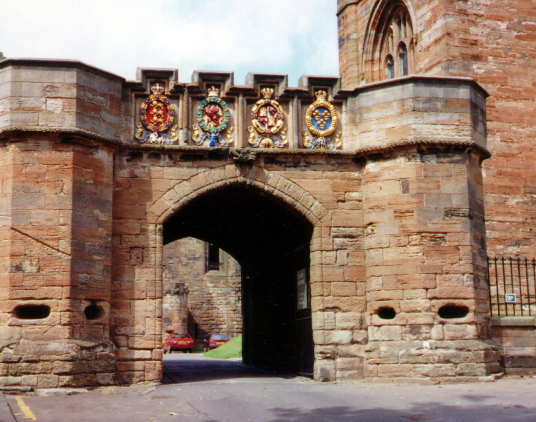 Gatehouse, Linlithgow Palace, a large, ruinous and impressive royal residence of the monarchs of Scotland and birthplace of Mary, Queen of Scots, in a scenic location in a park with a pond in the historic burgh of Linlithgow.