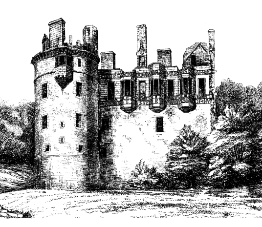 Huntly Castle, the ruin of a once magnificent and ornate palace and stronghold with a long and violent history, long held by the powerful Gordons of Huntly, near the Aberdeenshire burgh of Huntly in north-east Scotland.