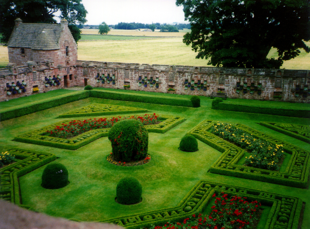 Walled garden, Edzell Castle, a substantial ruinous old stronghold of the Lindsay family with a fabulous walled garden, in a pretty peaceful spot neat the village of Edzell north of Brechin in Angus in Scotland.