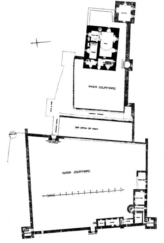 Plan of Craignethan Castle is a substantial artillery castle built the influential Hamilton family, now ruinous but with an impressive tower, fortifications and a ditch with a unique caponier, standing in a pleasant wooded location, near Lanark in central