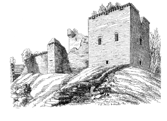 Flanking tower, Craignethan Castle is a substantial artillery castle built the influential Hamilton family, now ruinous but with an impressive tower, fortifications and a ditch with a unique caponier, standing in a pleasant wooded location, near Lanark in