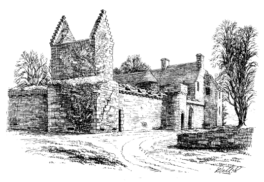 Outer courtyard, Craignethan Castle, a substantial artillery castle built the influential Hamilton family, now ruinous but with an impressive tower, fortifications and a ditch with a unique caponier, standing in a pleasant wooded location, near Lanark in