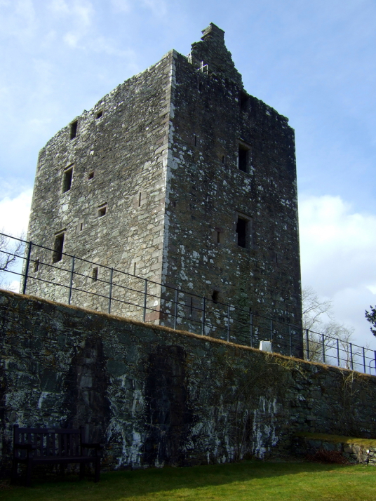 Cardoness Castle, a plain but impressive tower house, long held by the turbulent MacCullochs, in a prominent spot with a once comfortable interior, near Gatehouse of Fleet in Dumfries and Galloway.