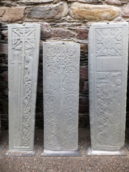 Carved graveslabs, Kilmory Knap Chapel, near Castles Sween is an interesting old ruinous stronghold in a pretty spot, in a peaceful spot on the banks of Loch Sween, near Tayvallich in Argyll in western Scotland.