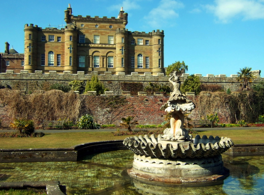 Culzean Castle, a spectacular clifftop mansion with an impressive interior, incorporating an old castle of the powerful Kennedys of Cassillis, in fine landscaped gardens and grounds by the sea, near Maybole in Ayrshire in southwest Scotland.