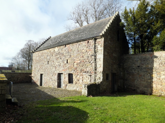 Foulden Tithe Barn: Foulden is a pretty village in Berwickshire in southeast Scotland, with the interesting 'tithe' barn, parish church and graveyard with old carved tombstones and the nearby site of Foulden Bastle, the property being held by the Ramsays,