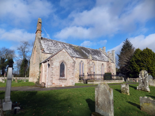 Foulden Parish Church: Foulden is a pretty village in Berwickshire in southeast Scotland, with the interesting 'tithe' barn, parish church and graveyard with old carved tombstones and the nearby site of Foulden Bastle, the property being held by the Ramsa