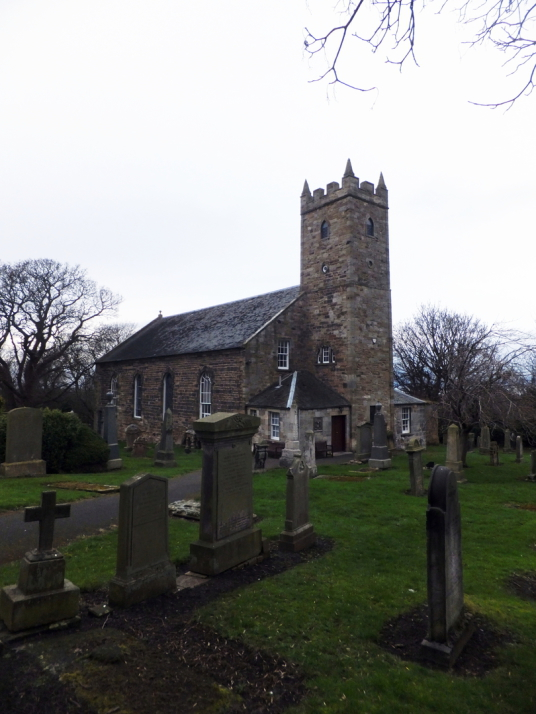 Tranent Parish Church, burial aisle of the Cadell who owned Cockenzie House, a long plain mansion with some old interiors, dating from the 17th century, in beautiful gardens in the pleasant town of Cockenzie and Port Seton on the banks of the Firth of For