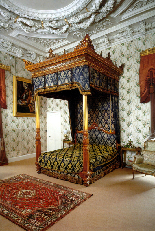 Grand bedchamber, Thirlestane Castle, a fabulous old castle and mansion with many sumptuous chambers, long held by the powerful Maitlands of Lauderdale, and in lovely gardens and grounds near Lauder in the Borders in southern Scotland.