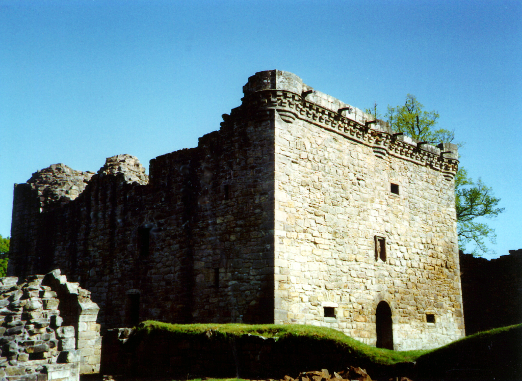 Craignethan Castle, a substantial artillery castle built the influential Hamilton family, now ruinous but with an impressive tower, fortifications and a ditch with a unique caponier, standing in a pleasant wooded location, near Lanark in central Scotland