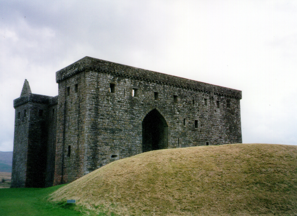 Hermitage Castle, a large, ruinous and brooding castle in a lonely and windswept spot, held by the Soulis family, the Douglases and then the Hepburns, near Newcastleon in the Borders near England.