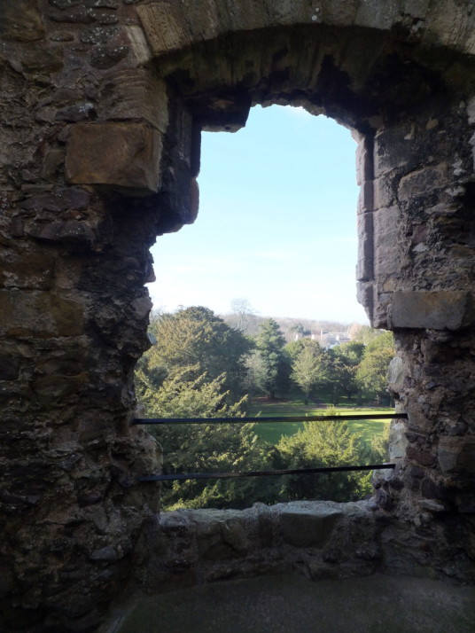 Window, Ruthven range of buildings of Dirleton Castle, a magnificent medieval ruined castle, near North Berwick in East Lothian