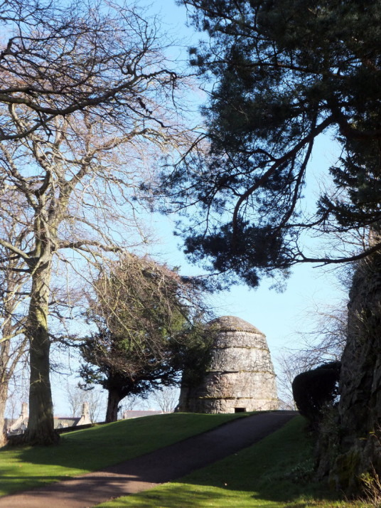 Doocot or dovecote, for keeping pigeons, of Dirleton Castle, a magnificent medical ruined castle, near North Berwick in East Lothian