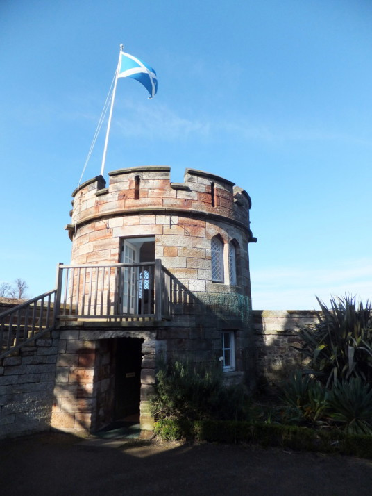 Gazebo (small museum), Dirleton Castle, a magnificent medical ruined castle, near North Berwick in East Lothian
