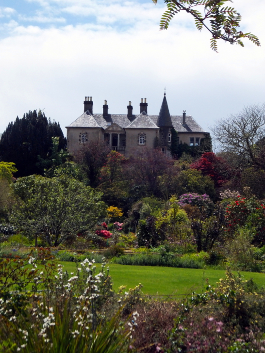 Ardmaddy Castle and Gardens, an attractive mansion on a rock in a beautiful spot with the fantastic walled garden, water garden and wooded grounds, near Oban in Argyll.