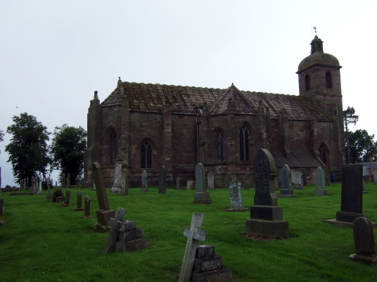 Ladykirk is an impressive and substantial old church near Coldstream in the Borders in southern Scotland, built by James IV, while there was a castle and mansion, held by the Cockburns and Robertsons