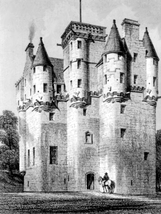 Craigievar Castle, a magnificent and imposing old tower house with a fantastic atmospheric and period interior, long held by the powerful Forbes family and set in beautiful wooded grounds in the rolling hills of Aberdeenshire near Alford in northeast Scot