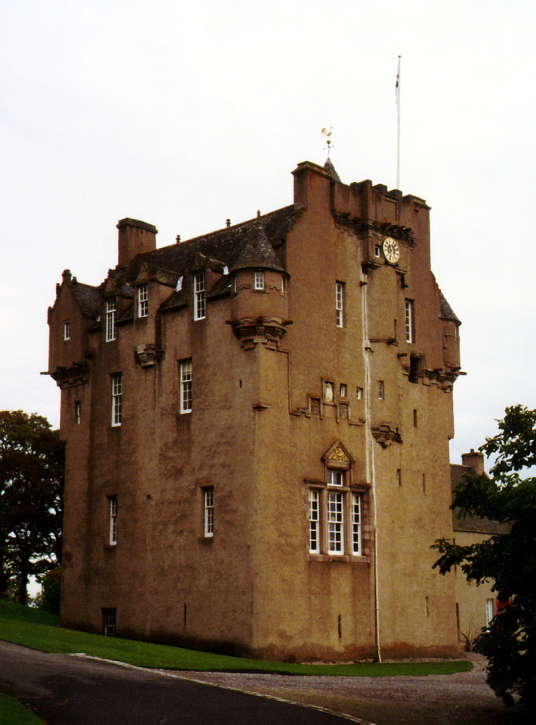 Crathes Castle, a massive and impressive old tower house of the Burnett family, set in a pleasant spot in fabulous wooded grounds with a stunning walled garden, haunted by a Green Lady ghost and located near Banchory in Aberdeenshire.