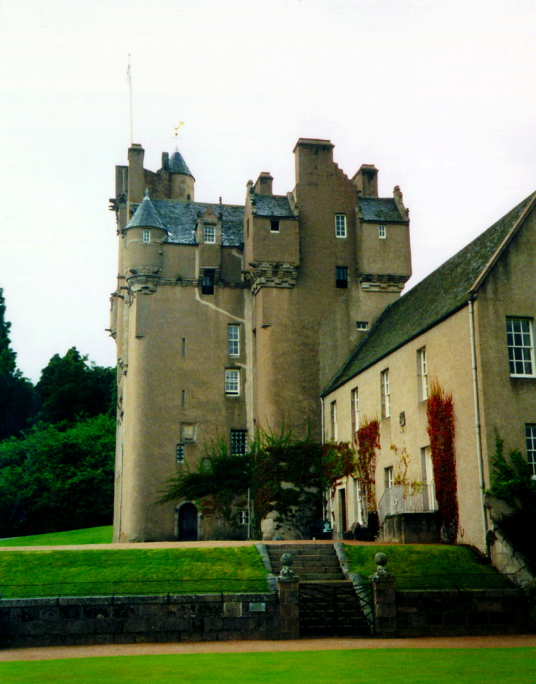 Crathes Castle is a massive and impressive old tower house of the Burnett family, set in a pleasant spot in fabulous wooded grounds with a stunning walled garden, haunted by a Green Lady ghost and located near Banchory in Aberdeenshire.