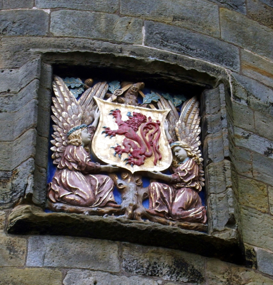 Coat of arms of Scotland, Falkland Palace, a impressive partly ruinous royal residence of the monarchs of Scotland, including James V and Mary Queen of Scots, with some excellent interiors, beautiful gardens and grounds and a real tennis court, in Falklan