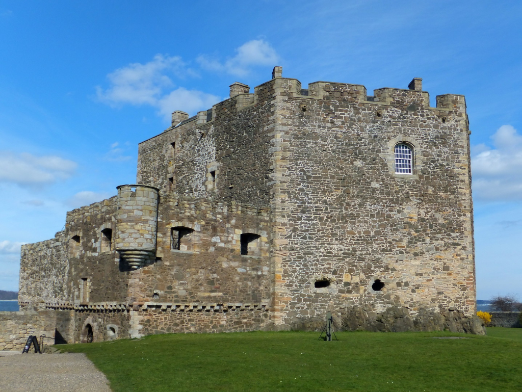 Blackness Castle, a large, grim and atmospheric old stronghold, held by the Crichtons and once used as a prison, in an impressive spot by the sea, near Linlithgow in central Scotland.