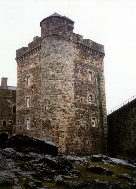 Central tower, Blackness Castle, a large, grim and atmospheric old stronghold, held by the Crichtons and once used as a prison, in an impressive spot by the sea, near Linlithgow in central Scotland.