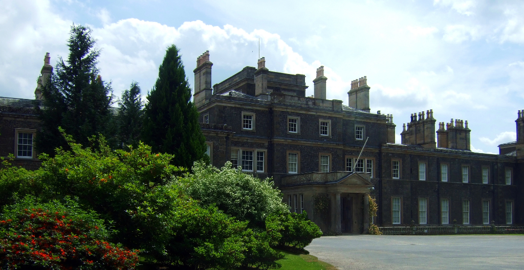 Bowhill Hous, a large old mansion with a fine interior in lovely gardens and landscaped grounds, held by the Scott Dukes of Buccleuch and located near Selkirk in the Borders in southern Scotland.