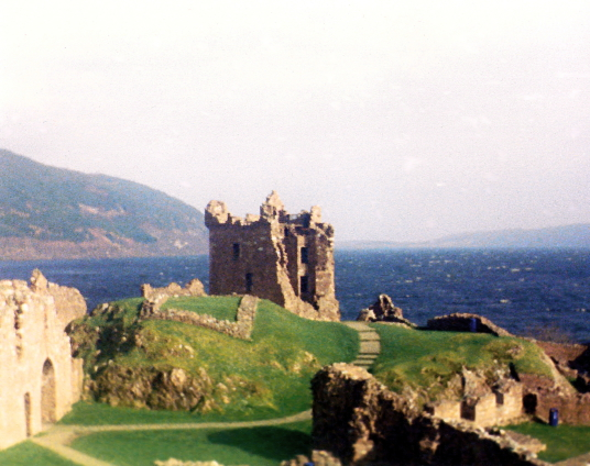 Urquhart Castle, a scenic old ruinous stronghold in a beautiful location on the banks of the famous Loch Ness, home to the legendary Loch Ness Monster, near Inverness in the Highlands in the north of Scotland.
