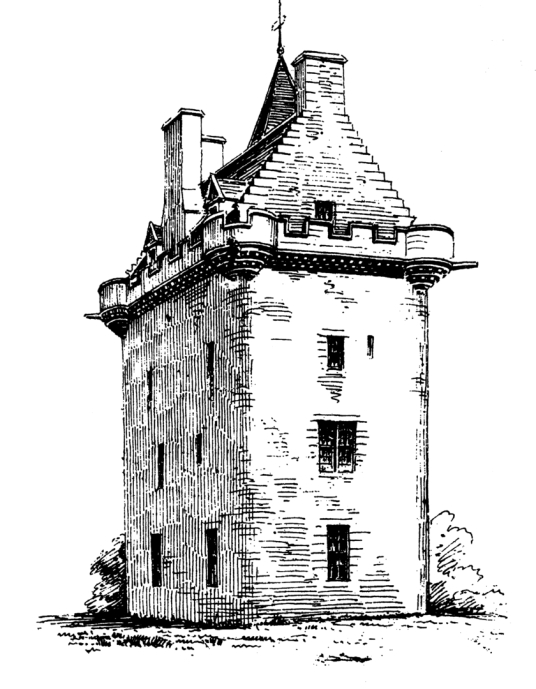 Guthrie Castle, an attractive old tower house and later mansion, long held by the Guthrie family and now and set in wooded grounds, near Forfar in Angus in northeast Scotland.