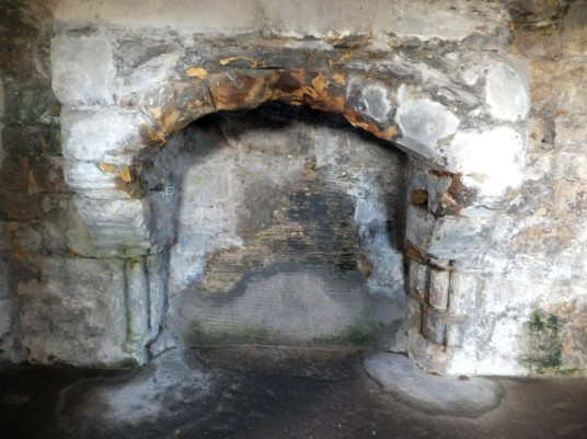Fireplace, Lord's Hall of Dirleton Castle, a magnificent medieval vaulted chamber in the main round tower. of the magnificent medieval ruined castle, near North Berwick, in East Lothian