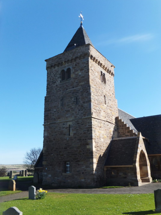 Aberlady Parish Church, near Kilspindie Castle, a very ruinous tower house, located in a lovely spot by the sea in a field to the north of pretty village of Aberlady with its fine parch church in East Lothian in central Scotland.