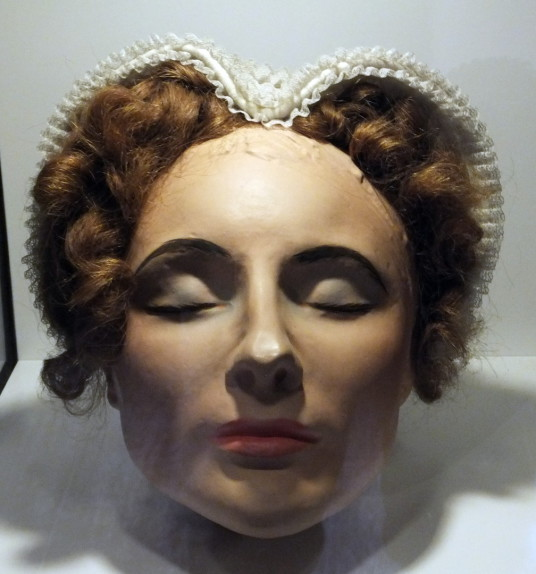 Mary's death mask, Mary Queen of Scots House or Visitor Centre or Queen Mary's House, a picturesque old tower house in the historic town of Jedburgh in the Borders, held by the Scotts and associated with, and now housing a museum about, Mary Queen of Scot