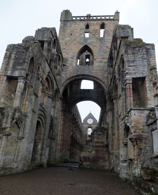 Jedburgh Abbey, near Jedburgh Castle, once an important royal castle, Malcolm IV died here and Alexander III was married here, but it was completely demolished and the site is occupied by Jedburgh Castle Jail.