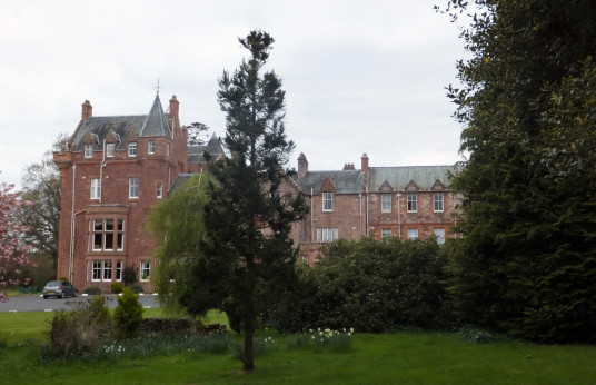 Dryburgh Abbey Hotel (or Dryburgh House or Mantle House), Dryburgh Abbey is a fantastic and scenic ruinous abbey, burial place of Walter Scott and set in a peaceful spot by the River Tweed, near Melrose in the Borders in the southeast of Scotland.