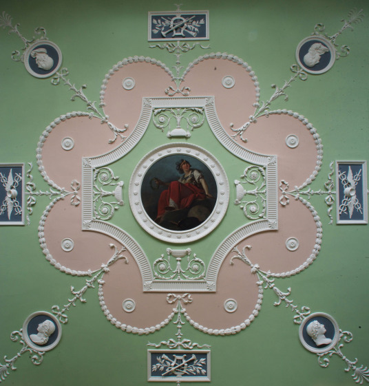 Ceiling of library, Mellerstain House, a fine castellated Adam mansion with a stunning and largely original Adam interior, set in beautiful gardens and expansive landscaped grounds.