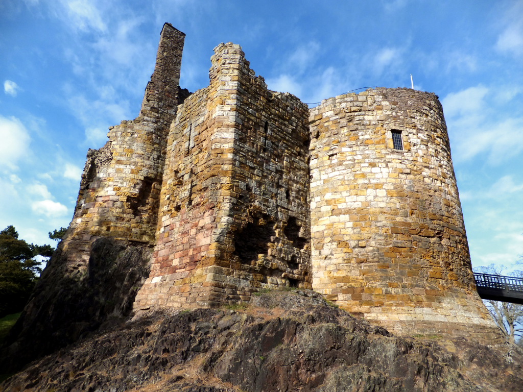 Dirleton Castle, a magnificent medieval ruined castle, near North Berwick in East Lothian