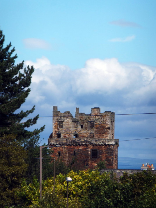 Preston Tower, a tall, impressive and grim old tower house, long held by the Hamiltons and in fine gardens in Prestonpans in East Lothian in eastern Scotland.