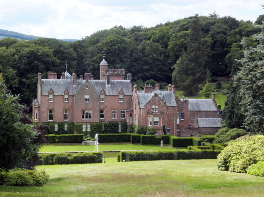 Portmore House is a baronial mansion dating from the middle of the 19th century, featuring lovely gardens, and set in a pretty spot in the hills near Eddleston and Peebles in the Borders of Scotland.